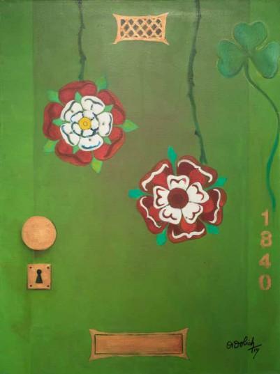 Una de las puertas pintadas por Nélida Didolich.