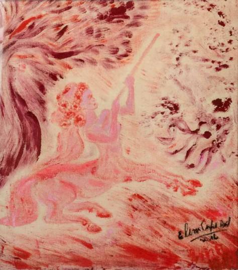 Elena Firpo Bustamante presentó varias obras que tienen a los ángeles como protagonistas.