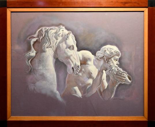 """""""Figura con caballo"""", óleo de Camilo Lucarini."""