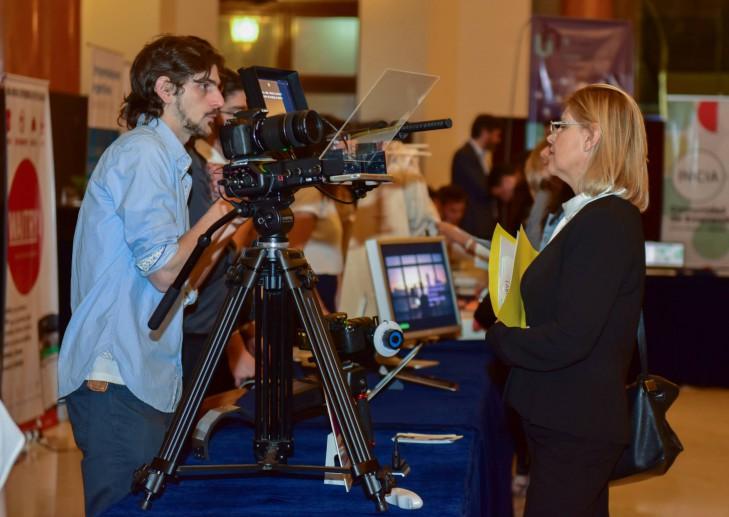 Stand de Pandora Cine, la firma que ganó el premio al Mejor Proyecto en la XI Feria de Empresas